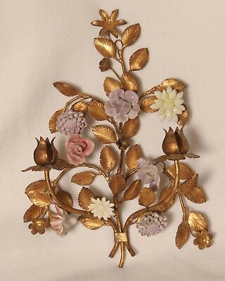 Old French Porcelain Painted Flowers & Gold Tole  Wall Hanging Candle Sconce