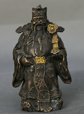 """5.5"""" Collect Old Chinese Bronze Taoism Lu Immortal God Hold Ruyi Stand Statue 禄神"""