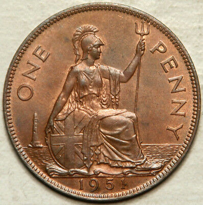 Great Britain 1 Penny 1951 (Key Date) Choice Unc (Lot #4)