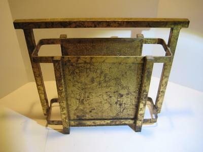 Rare Vintage Mid-Century Modern Metal Industrial Magazine Rack With Gold Finish