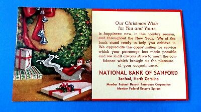 Christmas Ink Blotter from WNational Bank of Sanford, Sanford, N. Carolina