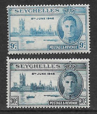 Seychelles Issue - Mint Set 2 Commemorative Stamps 1946 - Victory Anniversary