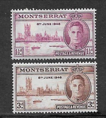 Montserrat Issue - Mint Set 2 Commemorative Stamps 1946 - Victory Anniversary
