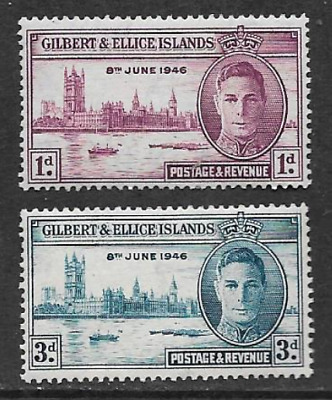 Gilbert & Ellice Issue Mint Set 2 Commemorative Stamps 1946 Victory Anniversary