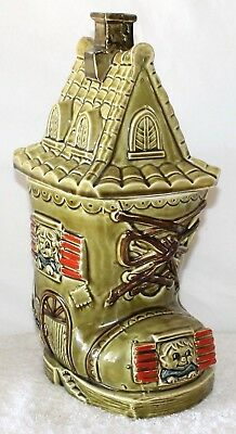 Vintage Shoe House Cookie Jar Green Tones Steep Roof Finial Japan 1950s 1960s