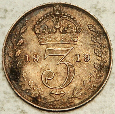 Great Britain Silver Threepence 3 Pence 1919 (Toned Unc!)