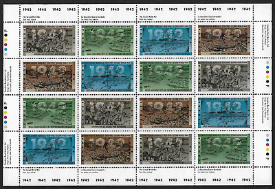 Canada -Full Pane of 16 - Second World War-1942: Dark Days Indeed #1448-51 - MNH
