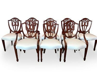 Stunning Set Of 8 George Hepplewhite Style Mahogany Chairs Pro French Polished.