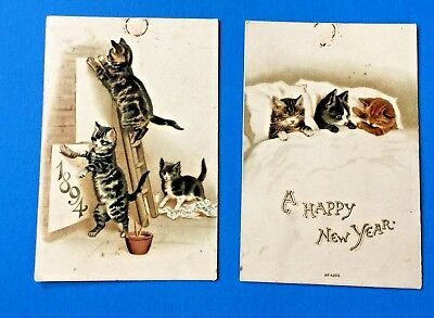 1894 Happy New Year Set of Two With Cats Calendar Cards