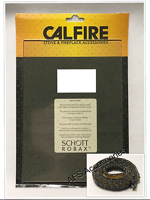 Calfire Replacement Stove Glass Firefox 8 / TIGER -With Thermal Tape (370 x 225)