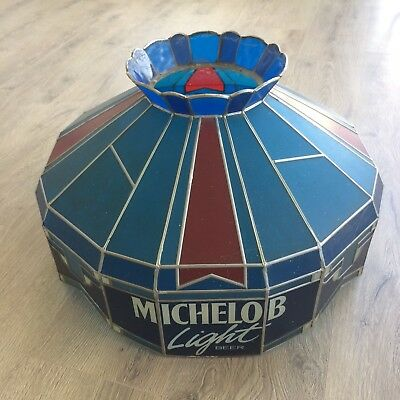 Vintage Hanging Faux Stained Glass Bar Game Room Michelob Light Beer For Parts