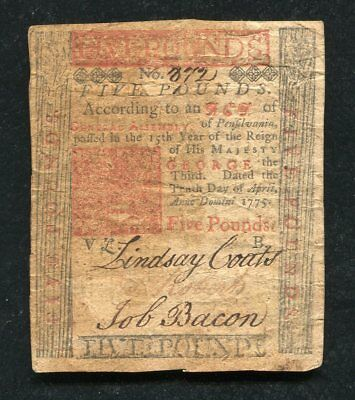 PA-176 APRIL 10, 1775 5p FIVE POUNDS PENNSYLVANIA COLONIAL CURRENCY NOTE
