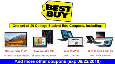 All 20 Best Buy Student.20Coupons:$50 $100 $150 off-MacBook-iPad Pro-Surface,etc