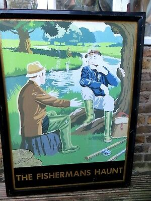 Original vintage heavy pub sign The Fisherman's Haunt, architectural vintage