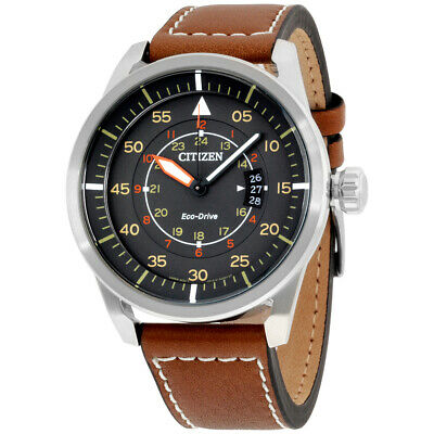 Citizen Avion Grey Dial Leather Strap Men's Watch AW1361-10H