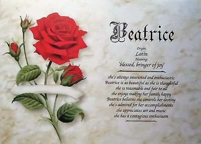 Beatrice First Name Meaning Art Print-8x10 Personalized Name Art-Red Rose