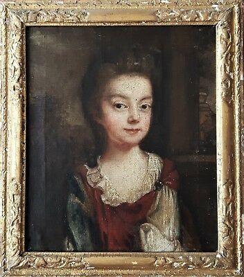 Glorious Early 18Th Century Oil On Canvas  Young Lady Portrait Painting