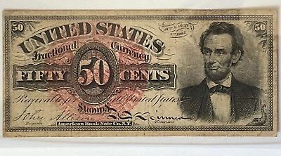 FR1374 4th ISSUE (1869-1875) 50 CENTS LINCOLN FRACTIONAL CURRENCY VF+