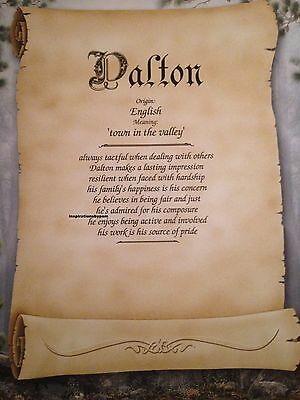 Dalton First Name Meaning Art Print-8x10 Personalized Name Art-Scroll-New