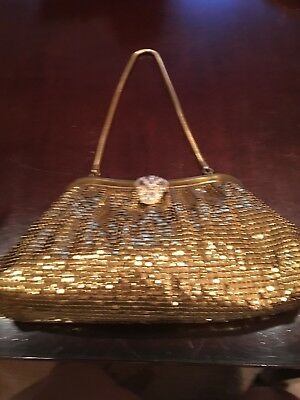 VINTAGE GOLD MESH WHITING AND DAVIS PURSE EVENING BAG with rhinestone clasp