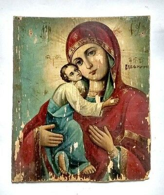 Antique Orthodox Icon Mother of God of Vladimir Russian Hand Painted Plywood