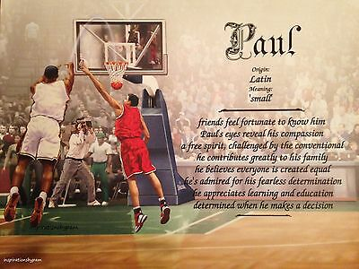 Paul First Name Meaning Art Print-8x10 Personalized Any Name Art-Basketball