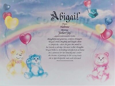 Personalized First Name Meaning Art Print-8x10-Abigail-Cuddly Bears-Newborn-New