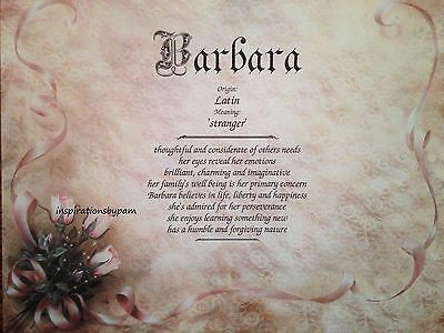 Barbara First Name Meaning Personalized Art Print-8x10-Pink Flowers and Lace