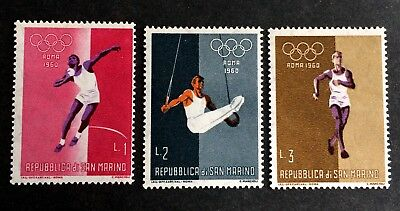 3 nice old stamps Olympic Games 1960 Rome Roma / San Marino 03