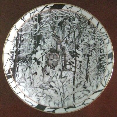 "8"" WHERE PATHS CROSS PLATE Wolf Hidden Pictures Diana Casey SILENT JOURNEY #159G"