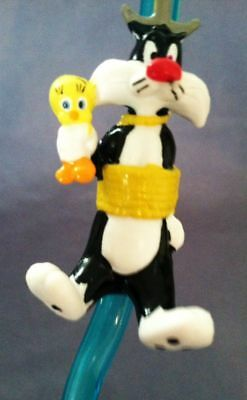 Looney Tunes TWEETY BIRD & SYLVESTER Blue Sipper Straw Applause Silly Crazy