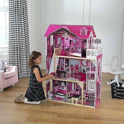Big Wooden Dollhouse Play House Toy + Furnitures Rooms Set For Girls Baby Kids