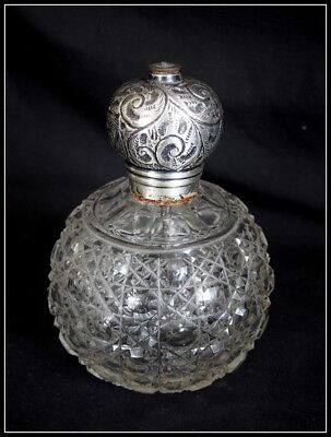 Vintage Silver Topped Perfume Bottle. Very Large.