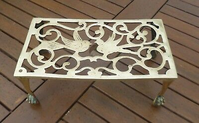 Large Antique Victorian Solid Brass Trivet with Bird Motifs