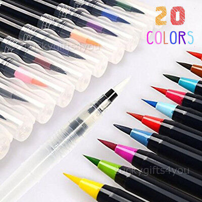 20 Color Watercolor Painting Pen Brushes Artist Sketch Drawing Marker Pens Set X