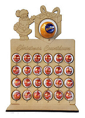 Santa Present Christmas Advent Calendar Stand Chocolate Orange & Lindt Baubles