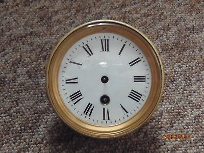 Vintage French mantel clock movement with dial for spares, repair or parts.