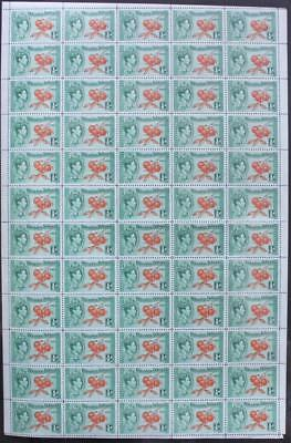 PITCAIRN ISLANDS: 1940 Full 12 x 5 Sheet ½d Oranges Examples - Margins (18708)