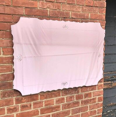 Large Vintage Pink/Peach/Rose Beveled MIRROR - Etched & Scalloped - Deco, 1940's
