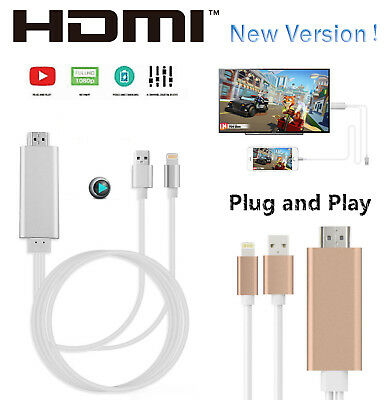 US 8Pin Lightning to 1080p HDMI HDTV AV TV Adapter Cable Cord for iPhone x 6 7 8
