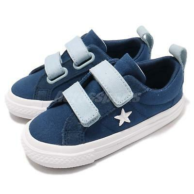 7c4865c3038 Converse One Star 2V Canvas Straps Blue White Infant Toddler Shoes 760763C
