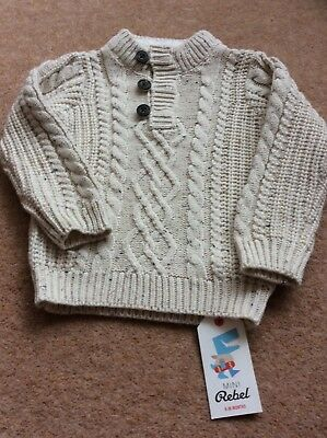 brand new baby boys cable knit jumper