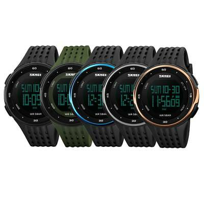 SKMEI Men's Sport Fashion Watch LED Alarm Date Digital Waterproof PU Wristwatch