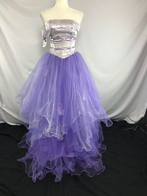 Strapless Prom Bridesmaid Evening Gown Dress Satin Tulle Crystal Corset Size 16