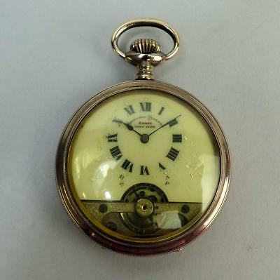Antique Swiss Hebdomas Gold Plated Gents Pocket Watch C.1900