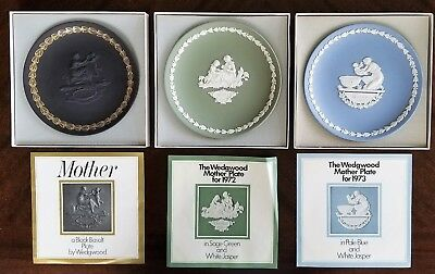 Lot of 3 Wedgwood Mother's Day Collector Plates 1971, 1972, 1973 Original Boxes