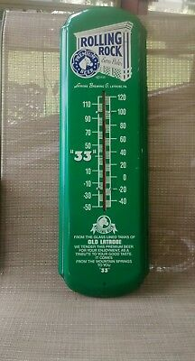 "Vintage Advertising Rolling Rock Beer Of Latrobe, Pa  27"" Thermometer Working"
