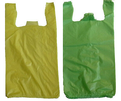 """1000 Green and Yellow Plastic T-shirt Shopping Bags Handles Grocery 6""""x3""""x13"""""""