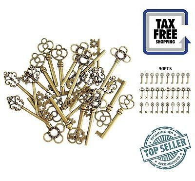 30-Pack Vintage Old Look Skeleton Keys Bronze Large Antique Keys Brass Finish