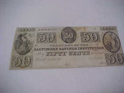 1800's Baltimore Savings Institution 50 Cent Note Undated Fine Condition